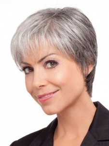 Straight Lace Front Short Gray Wig