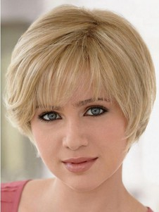 Human Hair Full Lace Short Wig With Mono For Woman