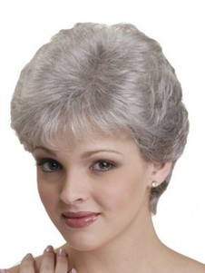 Gray Natural Synthetic Straight Capless Wig