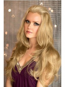 Wavy Soft Loose Long Blonde 3/4 Wig