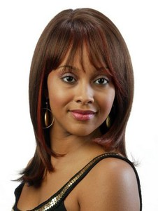 Straight Remy Hair Brown African American Wig