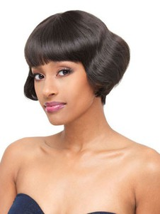 Human Hair Short Lace Front Straight African American Wig