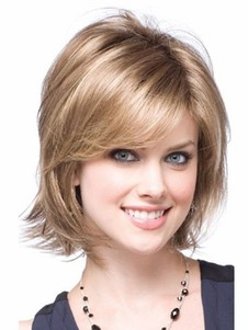 Length Medium Nice-looking Blonde Synthetic Wig