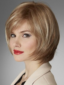 Soft Layemedium Human Hair Red Length Bob Wig