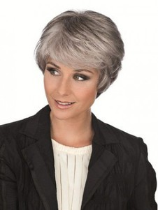Side Synthetic Fringe Capless Long Gray Wig