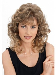 Wavy Perfect Romantic Blonde Monofilament Medium Wig
