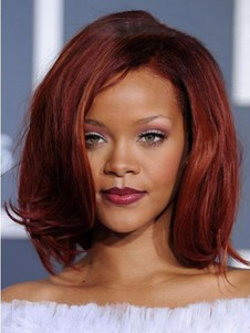 Rihanna Straight Hairstyle Lace Front Medium Celebrity Wig