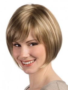Length Silky Chin Bob Style Light Blonde Wig