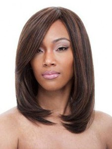 Human Hair Shimmering Silky Straight Lace Front Wig