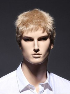 Short Full Lace Sassy Remy Human Hair Blonde Mens Wig