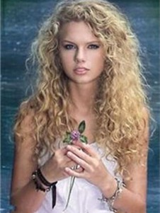 Taylor Swift Wavy Lace Front Elegant Long Human Hair Wig