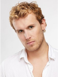 Synthetic Wavy Fashionable Short Blonde Men Wig
