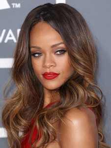Rihanna Glueless Wavy Dip Dye Lace Hairstyle Long Celebrity Wig