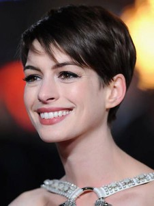 Anne Hathaway Pixie Human Hair Lace Front Celebrity Wig