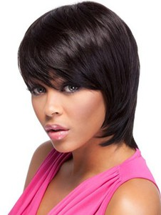 Straight Short Bob Remy Hair African American Wig