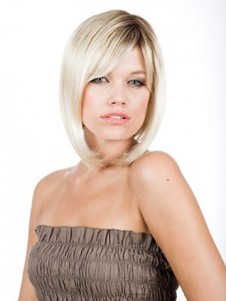 Straight Updating Sleek Blonde Light Bob Style Wig
