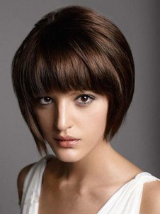 Chic Capless Straight Short Remy Human Hair Wig