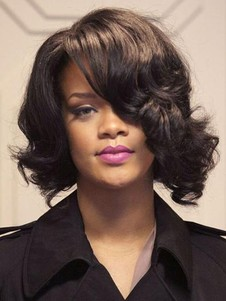 Lace Front Wavy Rihanna Hairstyle Medium Celebrity Wig