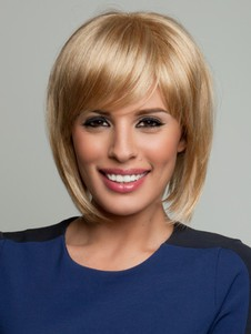 New Style Blonde Natural Straight 3/4 Synthetic Wig