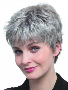 Synthetic Pixie Style Capless Gray Wig