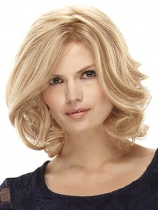 Wavy Blonde Medium Lace Wig For Woman