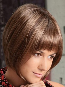 Straight Sliky Bob Style Cut Wig With Full Bangs
