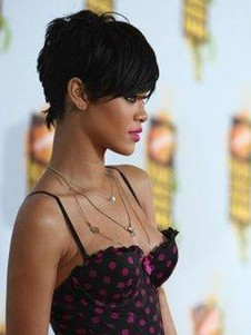 Rihanna's Unique Elegant Short Hairstyle Celebrity Wig