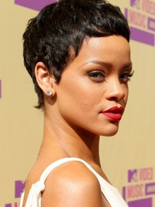 Rihanna's Synthetic Short Capless Celebrity Wig