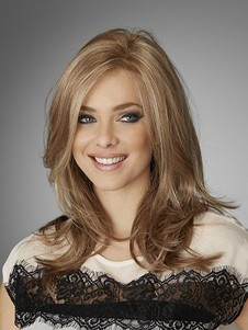 Medium Wavy Length Human Hair Natural Lace Wig
