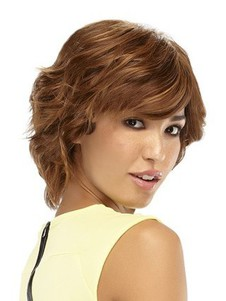 Human Hair Marvelous Shag Mono Top Short Wavy Wig