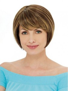 Red Sliky Chin Length Layebob Style Wig