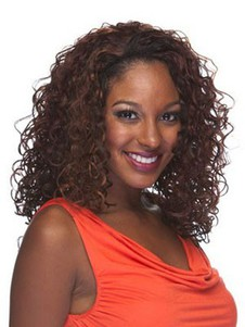 Curly Medium Synthetic Capless 3/4 Wig