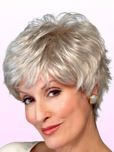 Wavy Shaggy Synthetic Graceful Gray Wig