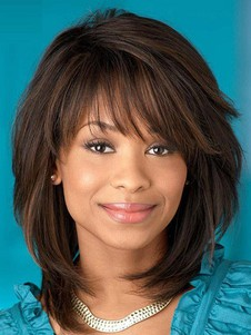 Straight Stylish Capless Synthetic African American Wig