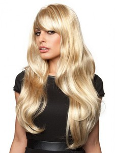 Blonde Capless Wavy Elegante Long Wig With Bangs