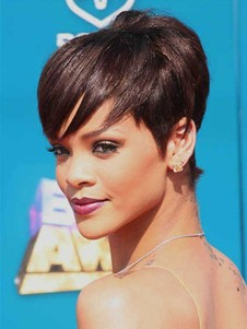 Rihanna Short Straight Hairstyle Celebrity Wig