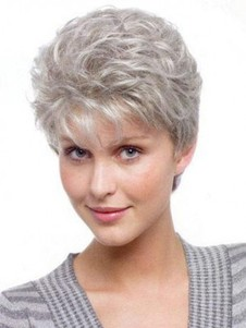 Capless Short Graceful Wavy Gray Wig