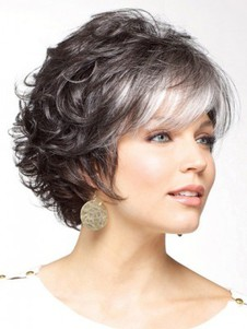 Curly Gray Gorgeous Short Synthetic Wig