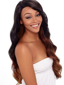 Wavy High Quality Human Hair Lace Front Long African American Wig