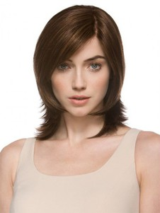 Wavy Fashionable Medium Natural Monofilament Brown Wig