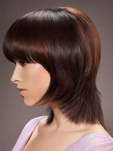 Remy Human Hair Short Straight Capless Wig