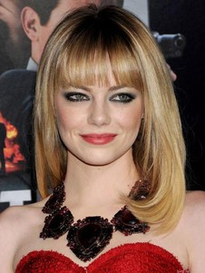 Light Blonde Emma Stone Celebrity Wig with Full Bangs