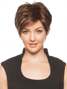 Straight Romantic Brown Capless Short Wig
