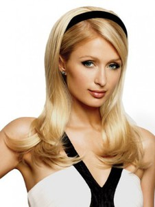 Long Sleek Synthetic Layers Half Wig With Headband