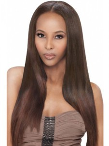 Straight Full Lace Human Hair Long African American Wig