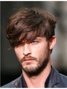 Brown Short High Quality Wavy Mens Wig