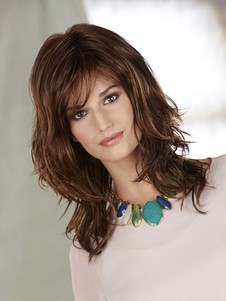 Polished Mid-synthetic Length Shag With Side Swept Bangs
