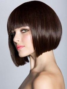 Straight Sleek Bob Style Synthetic Wig With Full Bangs