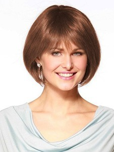 Human Hair Mid-length Fashion Full Lace With Mono Top Bob Wig