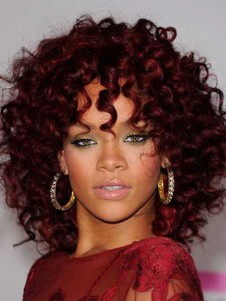 Medium Rihanna Red Charming Hairstyle Curly Celebrity Wig